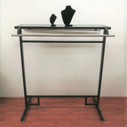 Double Bar Clothing Rack With Glass Top Display